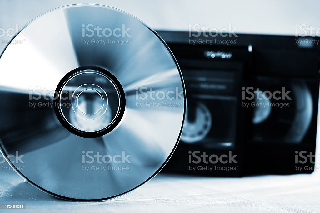 Cd and video cassettes stock photo