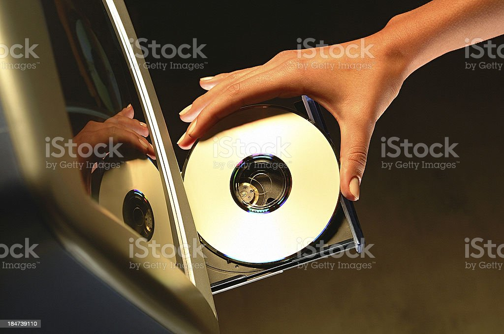 cd on computer royalty-free stock photo