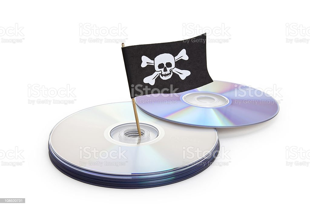 CDs with a flag representing piracy stock photo