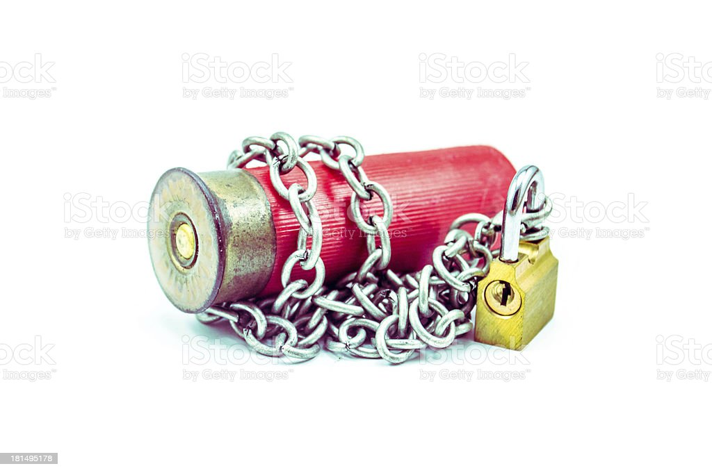 Ceasefire - bullet chained with padlock horizental stock photo