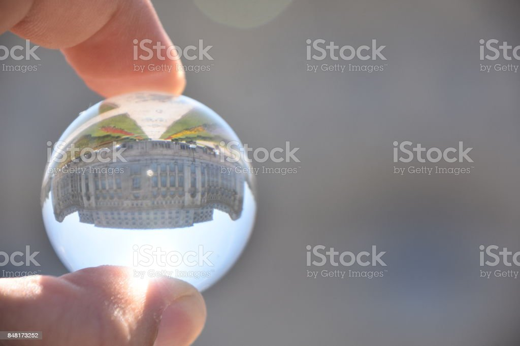 Ceausescu's Palace Through a crystal ball stock photo
