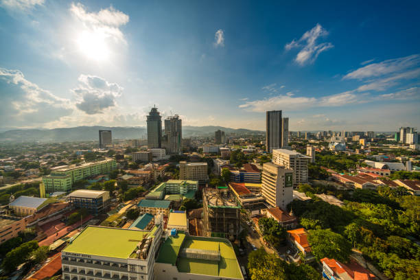 Cebu Ramos area by day city buildings houses while the sun is setting