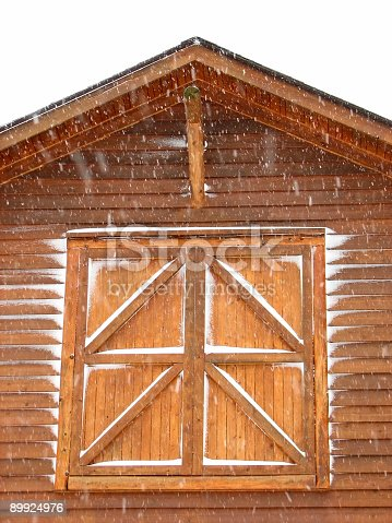 Cedar Barn Hay Loft Doors While Snowing Stock Photo More Pictures