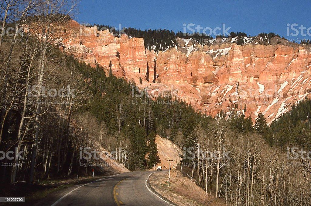 Cedar Canyon UT Highway 54 Cedar Breaks National Monument Utah stock photo