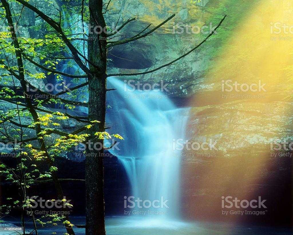 Cedar Falls in Hocking Hills with Sunrays stock photo