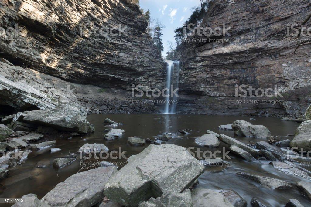 Cedar falls on cedar creek flowing stock photo