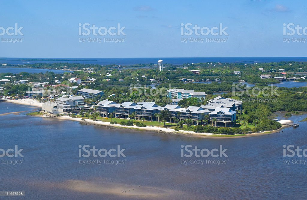 Cedar Key, Florida Aerial View stock photo