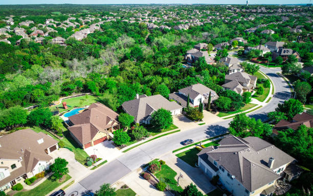 Cedar Park expanding Houses and Real Estate drone views stock photo