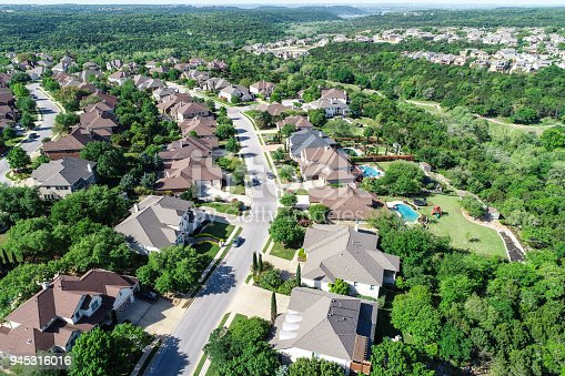 istock Cedar Park , Texas Homes and suburb neighborhood aerial drone view 945316016