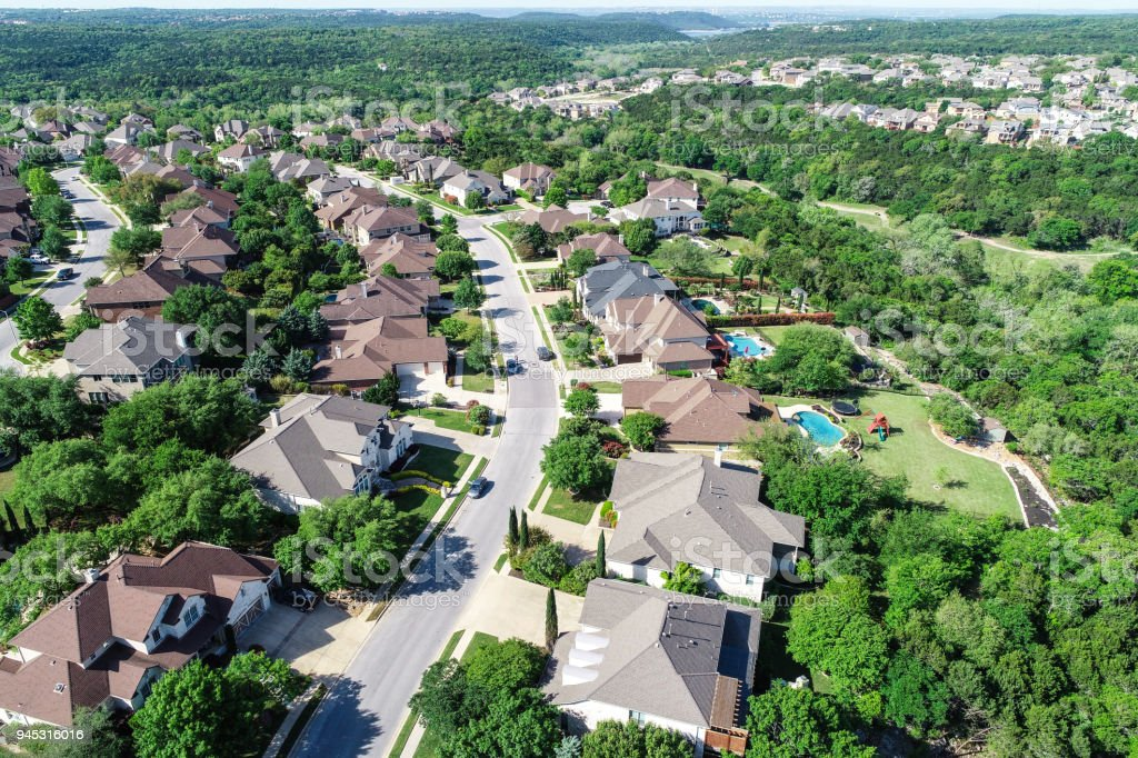 Cedar Park , Texas Homes and suburb neighborhood aerial drone view stock photo