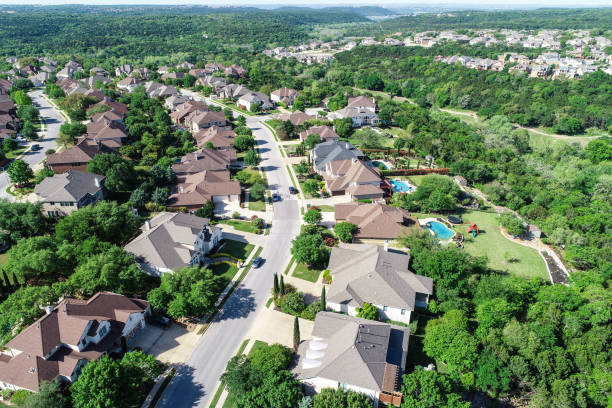 cedar park , texas homes and suburb neighborhood aerial drone view - residential district stock pictures, royalty-free photos & images