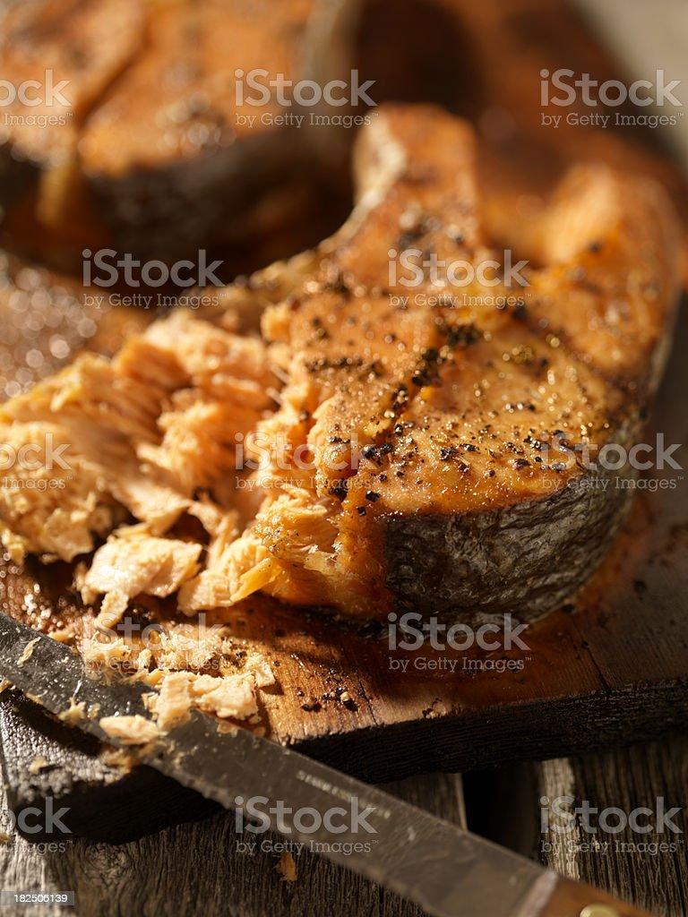 Cedar Plank Salmon Steaks royalty-free stock photo
