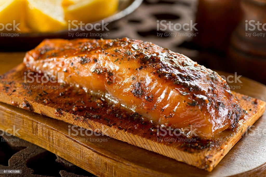 Cedar Planked Salmon stock photo
