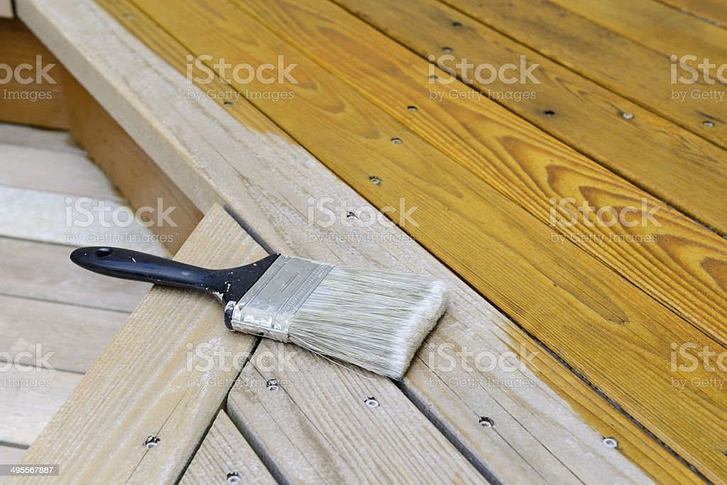 Cedar Porch Being Stained stock photo