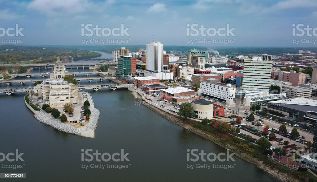 Cedar Rapids Aerial Skyline View With River Downtown Cedar Rapids aerial skyline view with Cedar River and Mays Island on the left. Aerial View Stock Photo