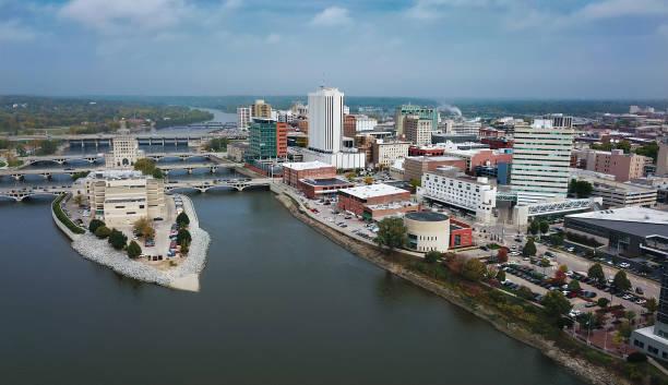 Cedar Rapids Aerial Skyline View With River stock photo