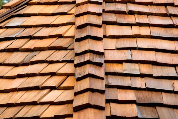 Cedar roof stock photo