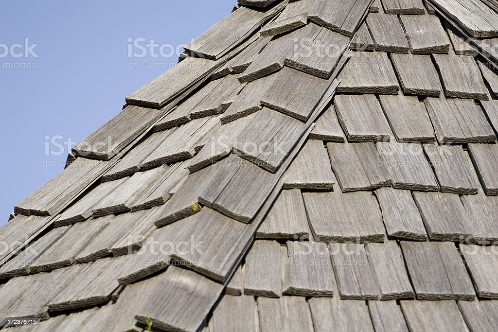 Cedar Roof Shingles Sky. royalty-free stock photo