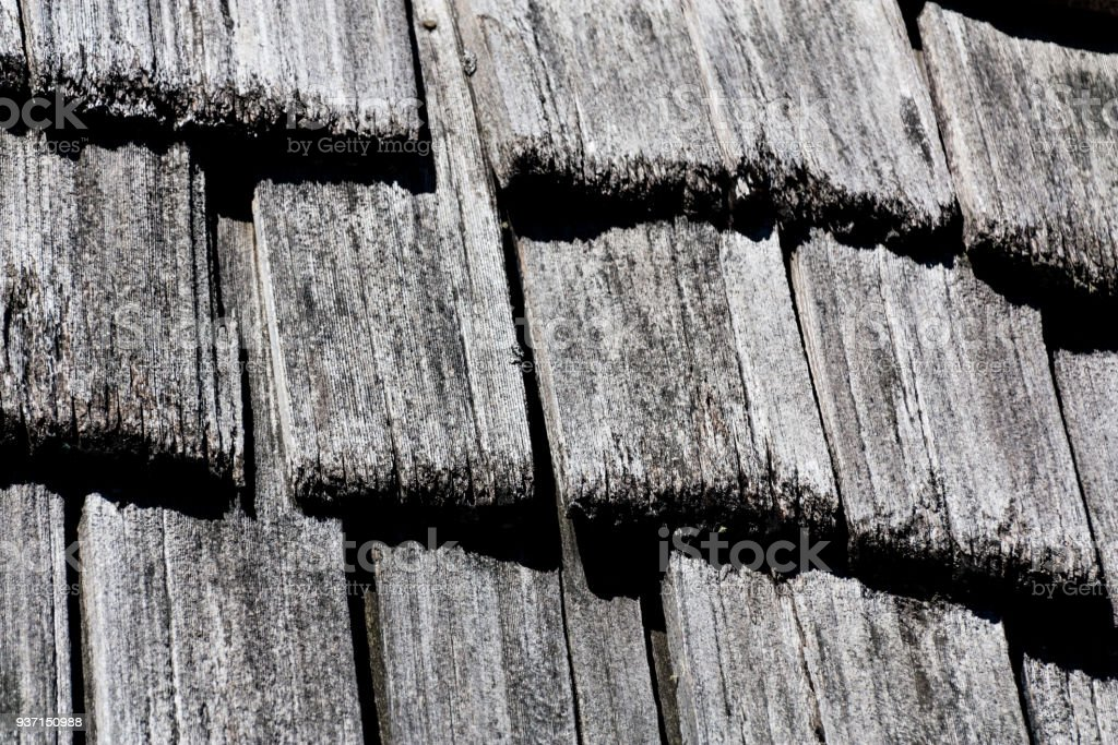 Cedar shake shingle texture background black and white stock photo