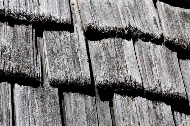Cedar shake shingle texture background black and white stock photo