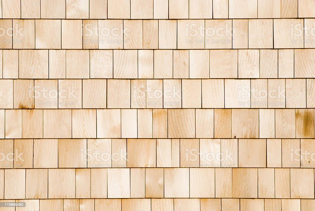 Cedar Shingle Siding, New House Wall royalty-free stock photo