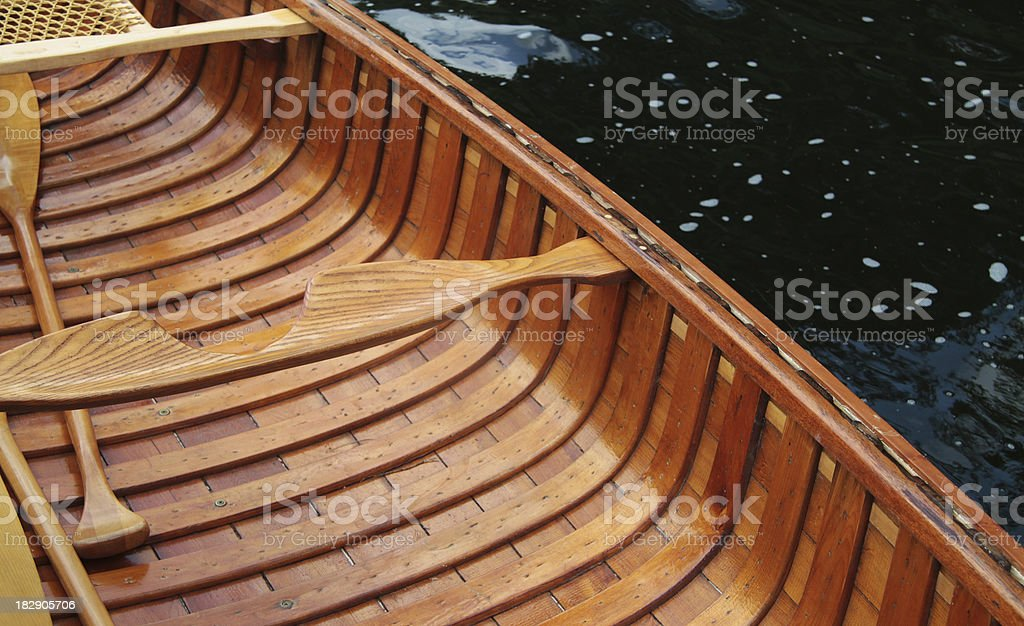 Cedar Strip Canoe and Water stock photo