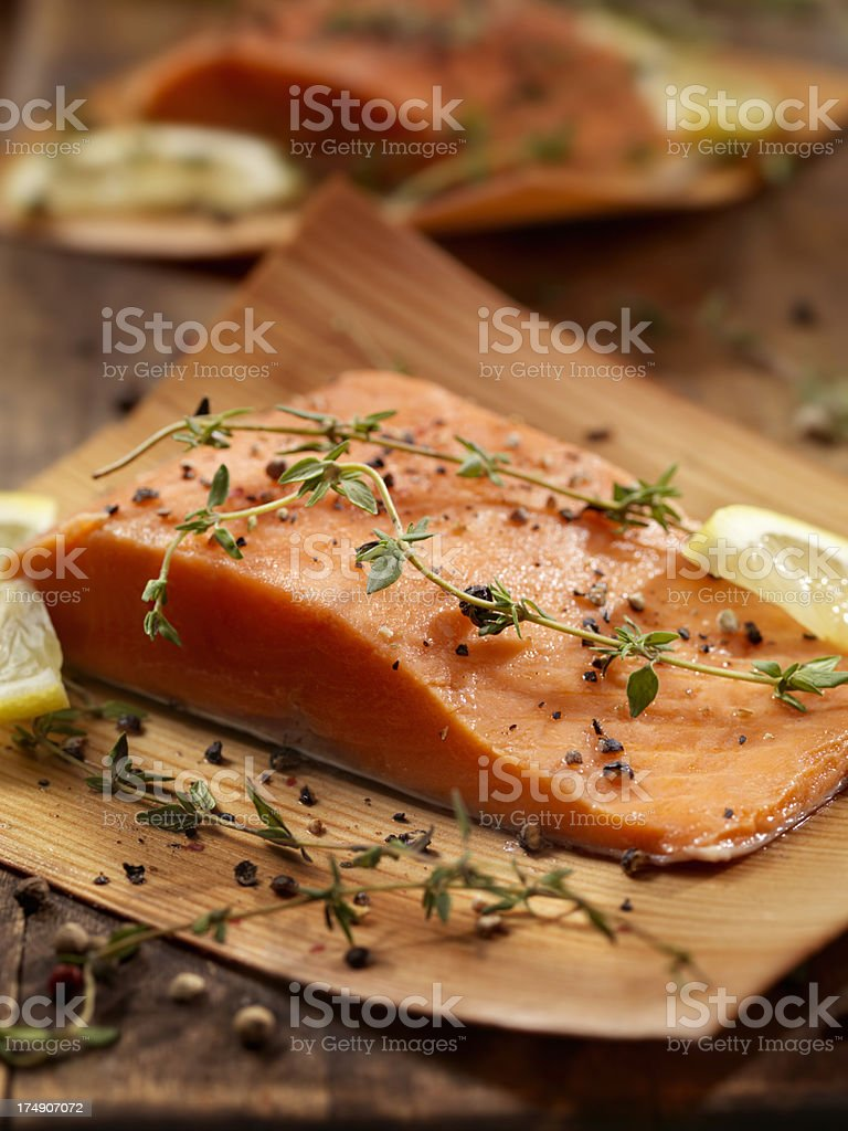 Cedar Wrapped Salmon royalty-free stock photo