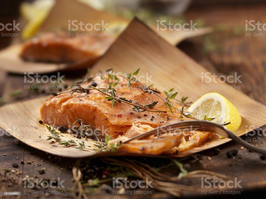 Cedar Wrapped Salmon stock photo