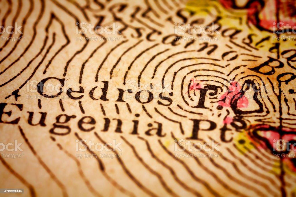Cedros Island, en un antiguo Mapa de México - foto de stock