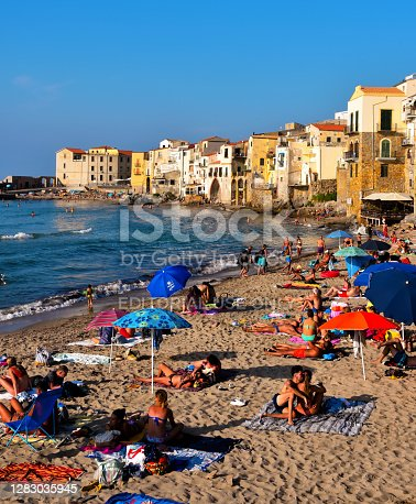 the beautiful sandy beach of the Sicilian village, a destination for many tourists Sep19 2020 Cefalù Italy