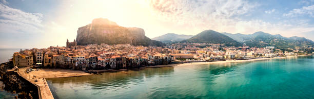 Cefalu Beach Aerial view of Cefalu, an beautiful and historic city located at Sicily, Italy. sicily stock pictures, royalty-free photos & images