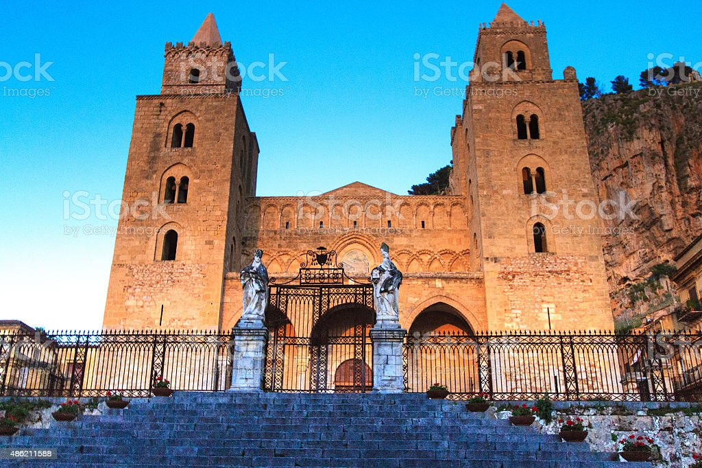 Cefalu Cathedral at Golden Hour, Sicily, Italy stock photo