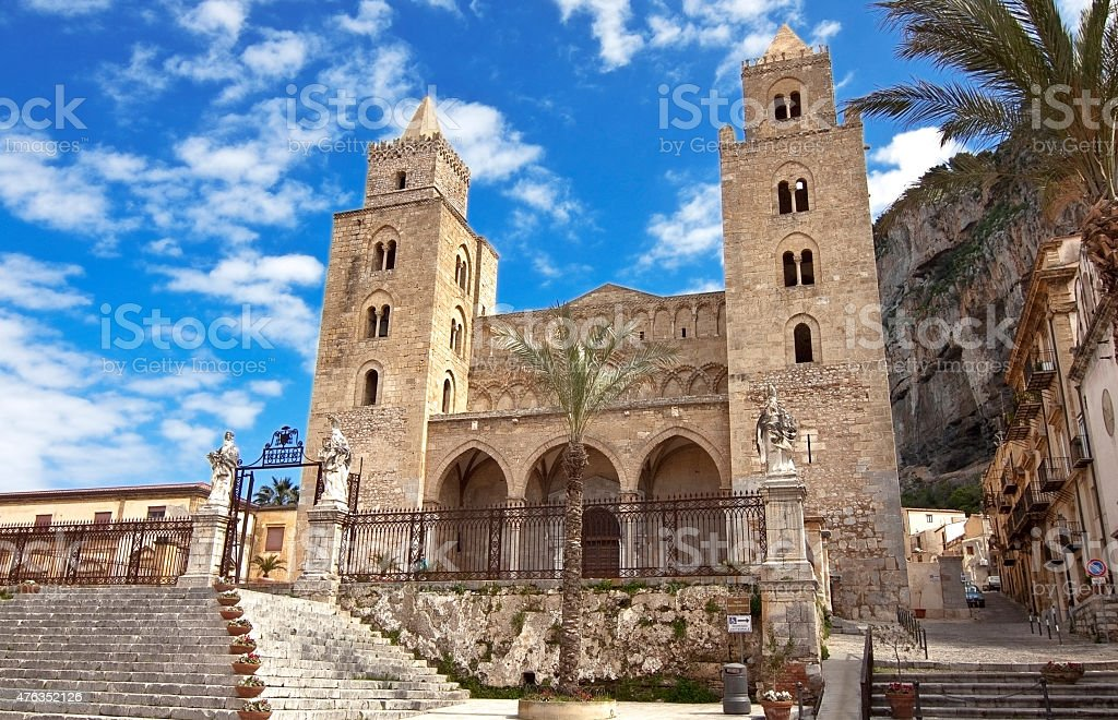 Cefalu cathedral stock photo