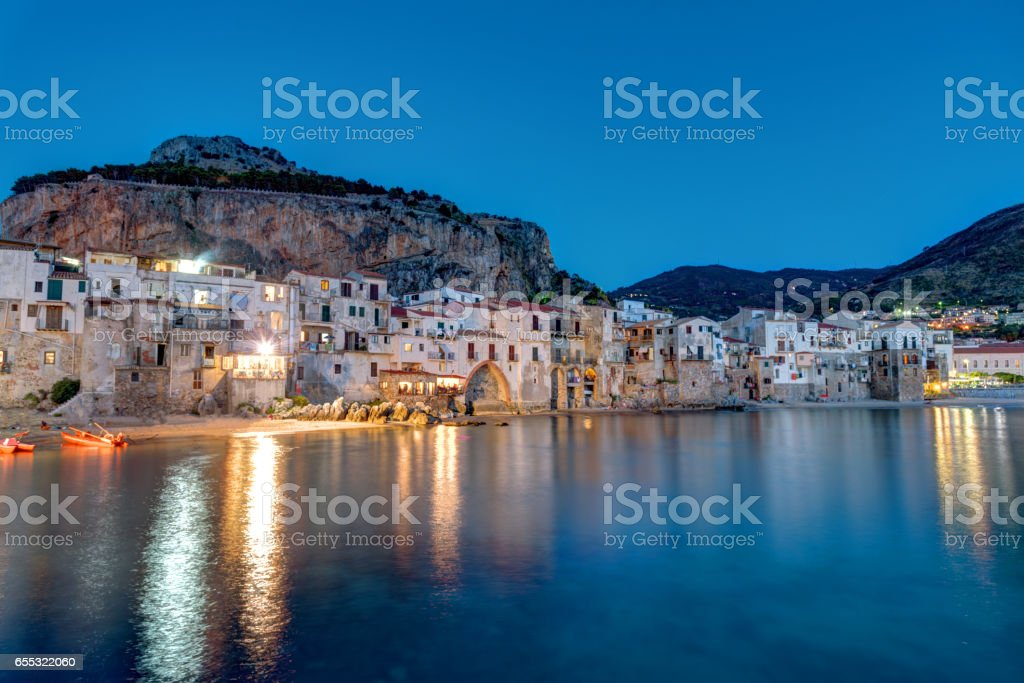 Cefalu in Sicily after sunset stock photo