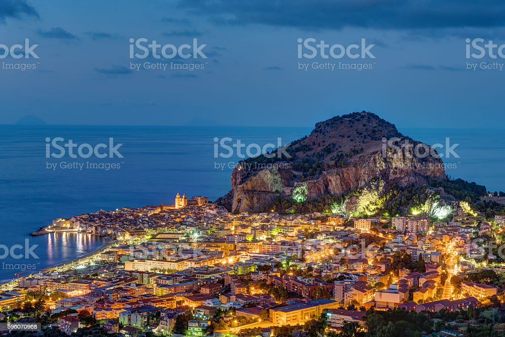 Cefalu in Sicily at night stock photo