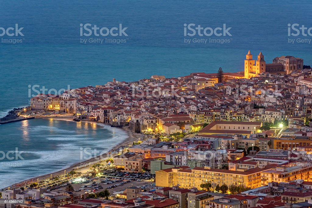 Cefalu in Sicily at twilight stock photo
