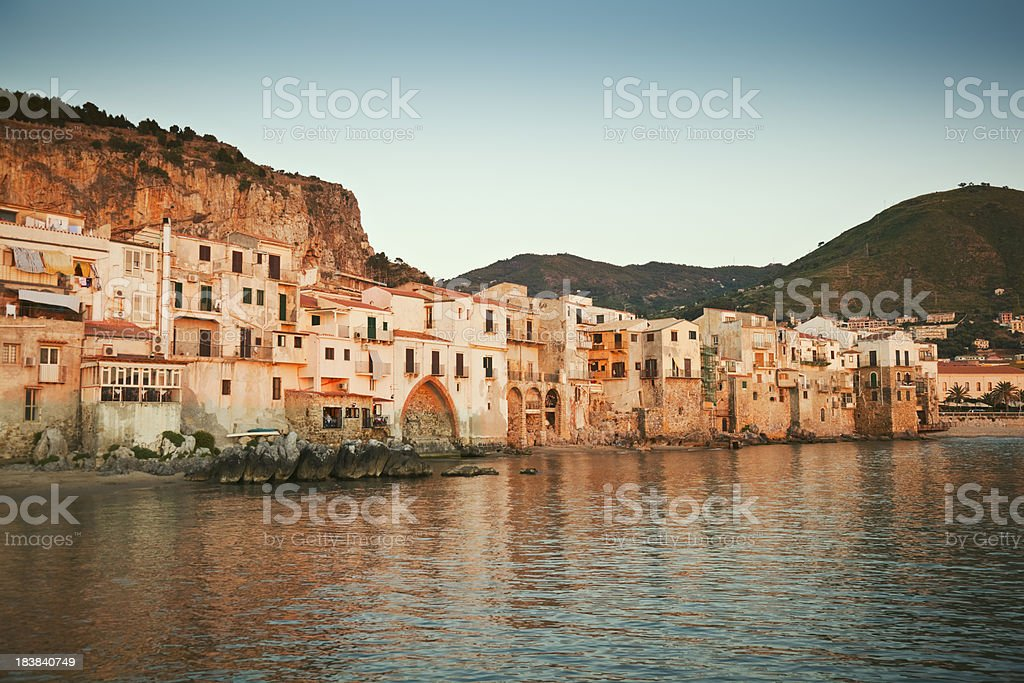 Cefalu in sunset light royalty-free stock photo