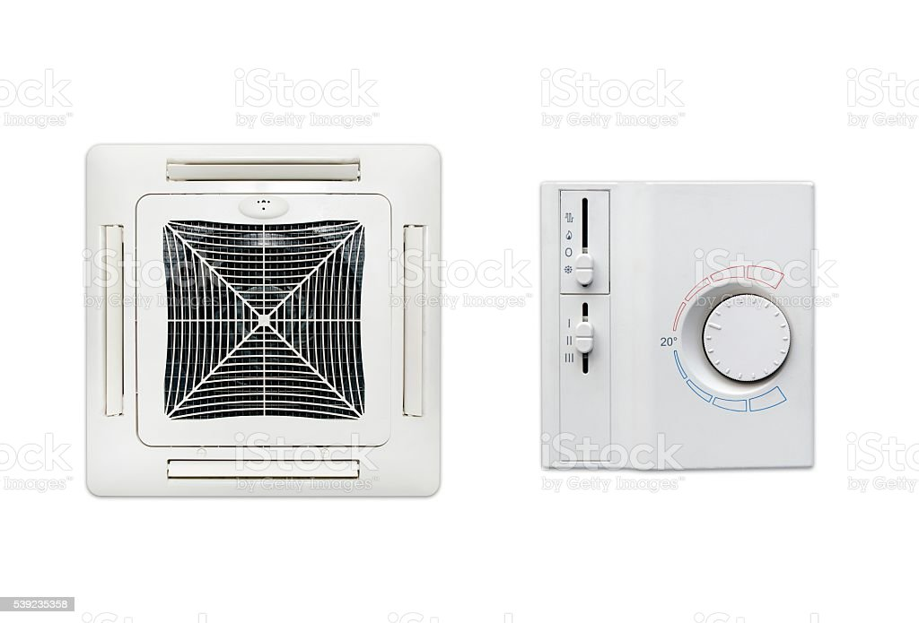 Ceiling air conditioner and thermostat set isolated royalty-free stock photo