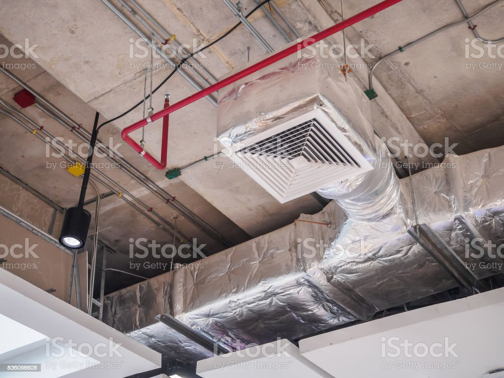 Ceiling air duct in large shopping mall stock photo