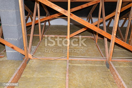istock Ceiling and attic floor insulation made of rock wool between the trusses, visible system chimney. 1249003582