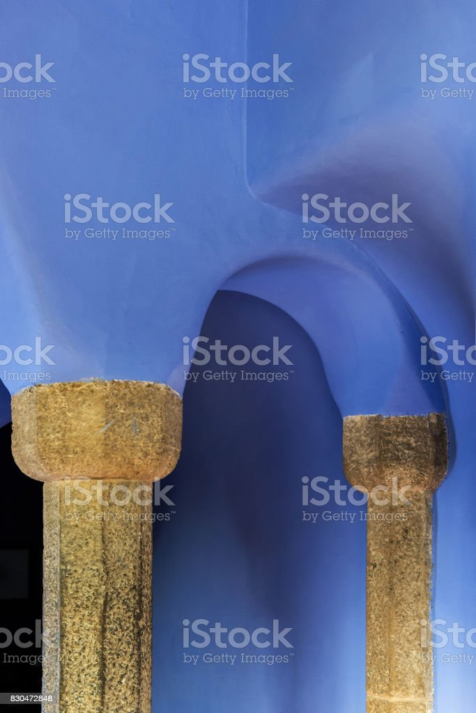 Ceiling and columns in Park Guell, Barcelona stock photo