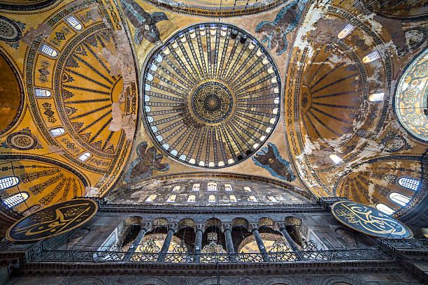 Ceiling and dome of Haghia Sophia, Istanbul, Turkey stock photo