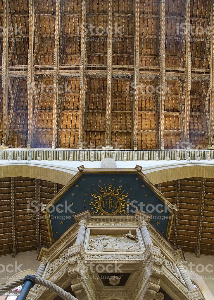 Ceiling and pulpit of Basilica di Santa Croce. Florence, Italy royalty-free stock photo