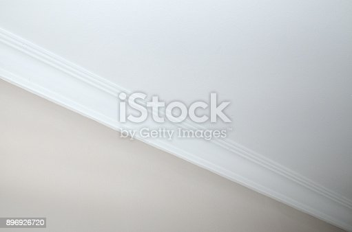 White ceiling with a wall in beige color