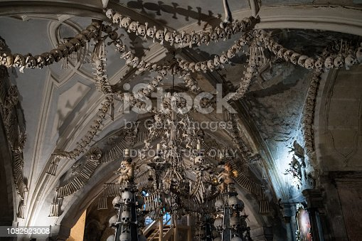 Kutna Hora, Czech Republic  - November 11, 2018: Ceiling at Cemetery Church of All Saints