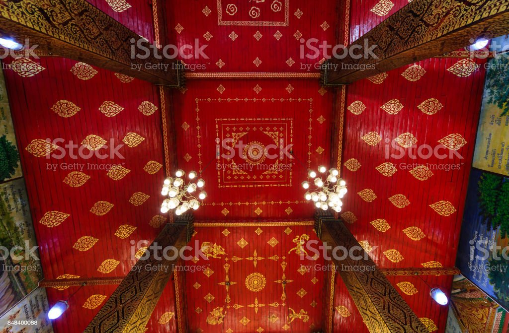 Ceiling at Wat Phra That Hariphunchai, temple in Lamphun Thailand stock photo