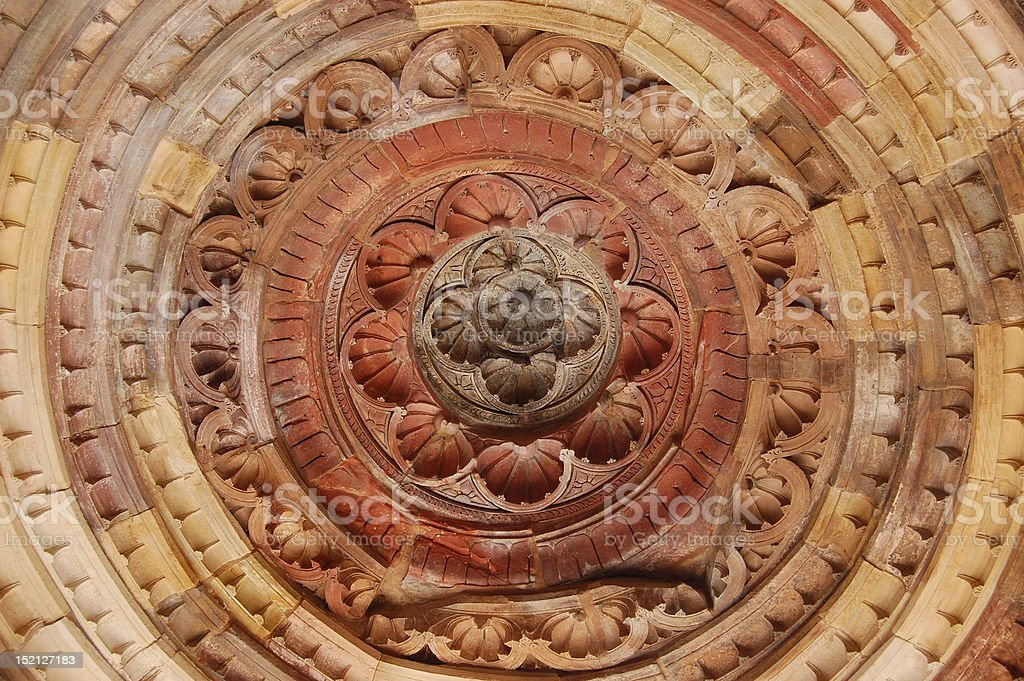 Ceiling decoration at the Quitab Minar, Dehli, India. royalty-free stock photo