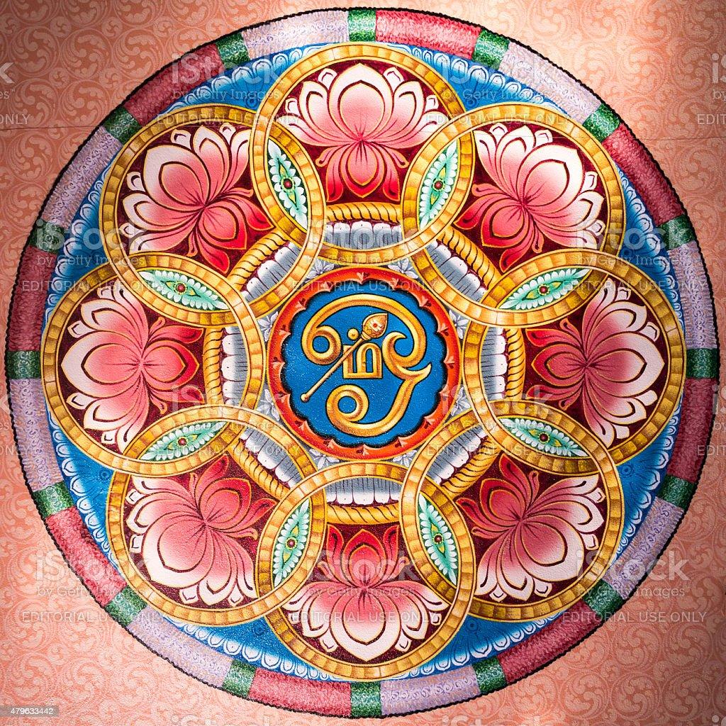 Ceiling decoration, Kapaleeshwarar Temple, Chennai, India. stock photo