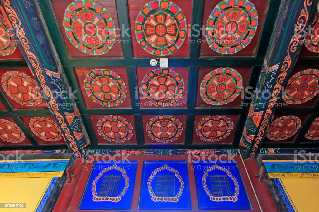 ceiling decoration pattern in a temple, closeup of photo stock photo