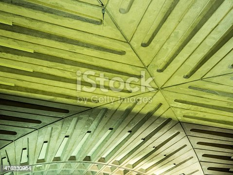 ceiling detail with lines and curves in Washington, DC, metro station